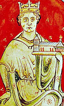 King John holding a church, painted c. 1250-59 by Matthew Paris John of England (John Lackland).jpg