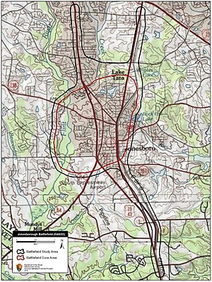Battle of Jonesborough - Map of Jonesborough Battlefield core and study areas by the American Battlefield Protection Program.