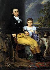 Portret van een voornaam man met zijn dochter en een jachthond