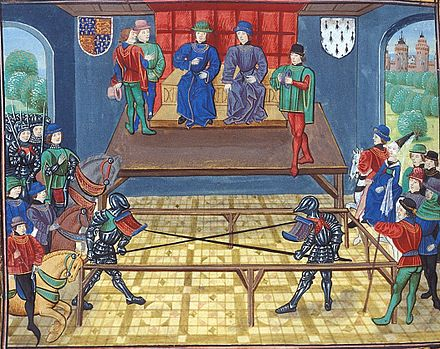 Thomas of Woodstock (left, identified by his arms) jousting in Vannes, Brittany, with John V The Conqueror, Duke of Bretagne, KG. Circa 1480, Froissart's Chronicles Jousting Buckingham+Bretagne.jpg