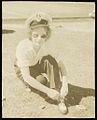Joy Laurieton, cabin crew, tying her shoe lace, ca. 1952 (19849777403).jpg