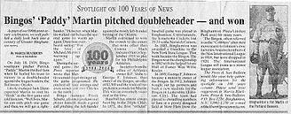 Pat Martin (baseball) - July 18, 1919 Bingo's Paddy Martin pitcher news article