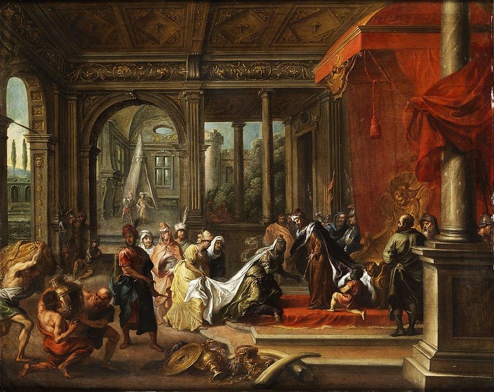 König Salomon empfängt die Königin von Saba (Antwerpen 17 Jh)