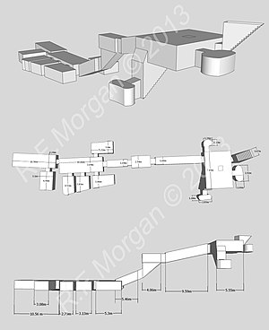 KV12 - Isometric, plan and elevation images of KV12 taken from a 3d model