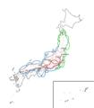 Kaart van japan land en zeeroutes tijdens de tokugawa periode-1527461118.png