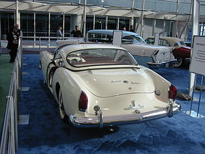 Sliding door (car) - A Kaiser Darrin - visible in this picture are the pocket doors that slid forward into the fender.