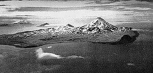 Kanaga Island - Kanaga Island. The volcanic Mount Kanaga is visible to the right.