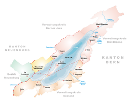 Karte des Bielersees mit der St. Petersinsel