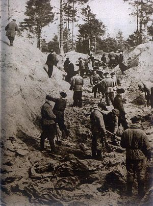 Soviet repressions of Polish citizens (1939–1946) - Exhumation of the Katyń forest massacre victims, murdered in 1940, by order of Soviet authorities