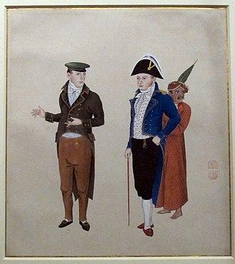 Kawahara Keiga - Dutchmen with a servant, Kawahara Keiga, around 1820-1830.