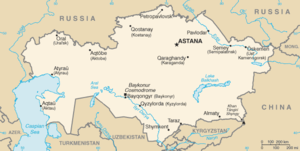 Map of Kazakhstan with Uzbekistan to the south