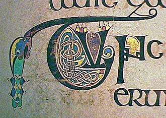 "Connacht - One of hundreds of small initials from the Book of Kells, in a script known as ""insular majuscule,"" a variety of uncial script that originated in early medieval Ireland."