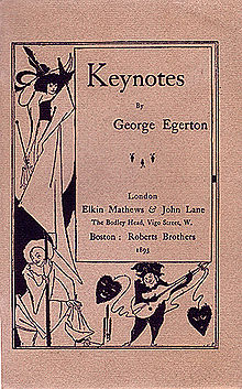Cover of Keynotes, a collection of short stories with cover art by Aubrey Beardsley.