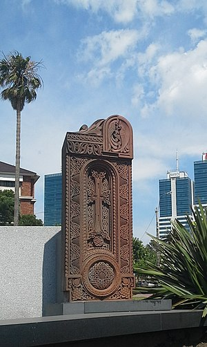 Armenians in Uruguay - Khachkar at the Rambla of Montevideo