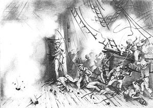 Shimonoseki Campaign - Attack on the French warship ''Kien Chan''.