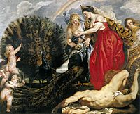 Hera, dev Argos'un gözlerini tavuskuşuna yerleştiriyor