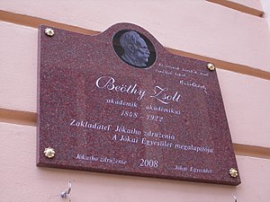 Zsolt Beöthy - A plaque of Zsolt Beöthy at the Museum of Danube Komarno in Komárom.