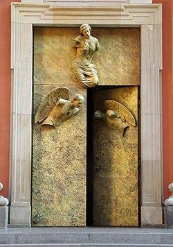 Drzwi kościoła OO. Jezuitów w Warszawie, ul. Świętojańska, 2009.