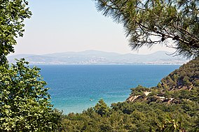 A view from Dilek Peninsula on a clear day overlooking the sea