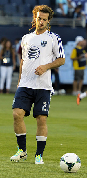 Kyle Beckerman - Kyle Beckerman, Real Salt Lake Midfielder, warming up at the MLS All Star game at Sporting Park, Kansas City, Kansas on July 31, 2013.