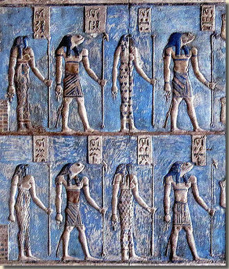 Ogdoad (Egyptian) - Depiction of the Ogdoad with serpent and frog heads (Roman-era relief at the Hathor temple in Dendera).