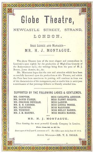 Globe Theatre (Newcastle Street) - A 1872 announcement