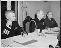 L to R, Captain C. J. Moore, Adm. William Leahy, and Brig. Gen. Andrew J. McFarland, at the meeting of the Joint... - NARA - 198849.tif