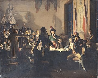 Fall of Maximilien Robespierre - Saint-Just and Robespierre at the Hôtel de Ville of Paris on the night of 9 to 10 Thermidor Year II (July 27 to 28, 1794). Painting by Jean-Joseph Weerts