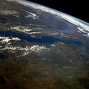 Lake Tanganyika photographed from orbit. Burton was the first European to see the lake.