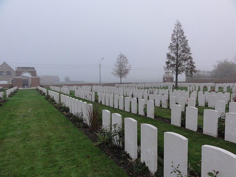Cement House Cemetery in Langemark. Langemark, Langemark-Poelkapelle, West Flanders, Belgium