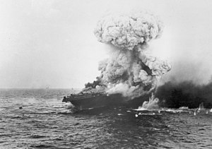 Large explosion aboard USS Lexington (CV-2), 8 May 1942 (80-G-16651).jpg