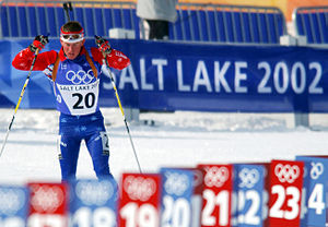 2002 Winter Olympics - The men's 10km sprint biathlon race at Soldier Hollow during the Games on February 13, 2002.