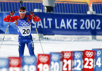 The men's 10km sprint biathlon race at Soldier Hollow during the Games on February 13, 2002 Lawton Redman 2002 Winter Olympics b.jpg