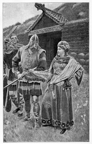 Helgi Harðbeinsson wipes the spear he has just killed her husband with on Gudrun's shawl (Wikimedia Commons)