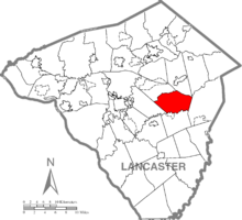 Map of Lancaster County, Pennsylvania highlighting Leacock Township