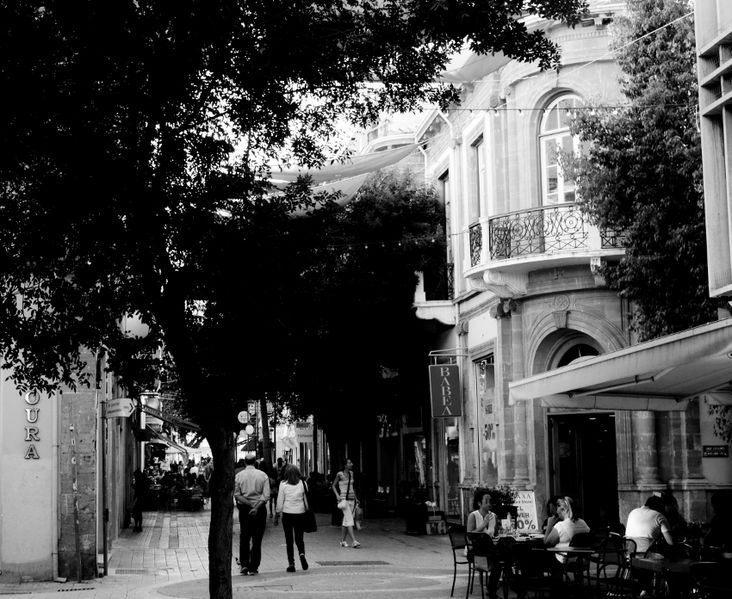 File:Ledra Street Afternoon cafeterias Black and white Nicosia Republic of Cyprus.jpg