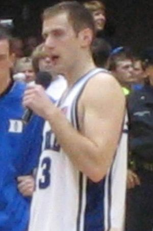 Lee Melchionni - Lee Melchionni talking to the crowd after his last game in Cameron Indoor Stadium
