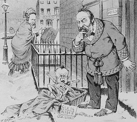 "An 1881 Puck cartoon shows Garfield finding a baby at his front door with a tag marked ""Civil Service Reform, compliments of R.B. Hayes."" Hayes, his predecessor in the presidency, is seen in the background dressed like a woman and holding a bag marked ""R.B. Hayes' Savings, Fremont, Ohio."" Left Puck.jpg"