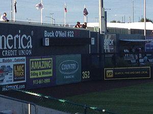 CommunityAmerica Ballpark - Image: Left field wall of Community America Ballpark in Kansas City, Kansas