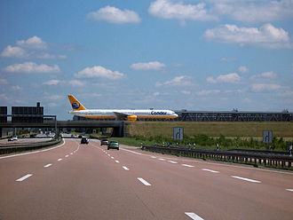 Transport in Germany - A taxiway crossing the Autobahn