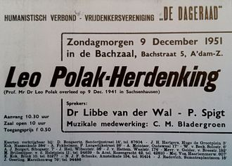 De Vrije Gedachte - 1951 commemoration of Leo Polak, co-hosted by De Dageraad and the HV.