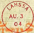 "Lhasa postmark detail, 3 August 1904, Tibet, book cover of ""Lhasa and its Mysteries"" by Lawrence Austine Waddell in 1906.jpg"