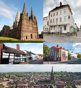 Fan boppe nei lofts: Katedraal Lichfield; Samuel Johnson Birthplace Museum; Quonians Lane; Garrickteater; Panorama