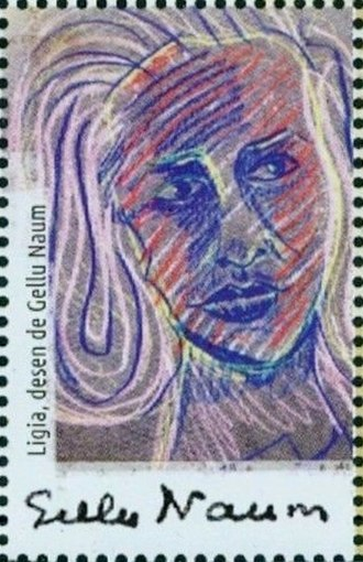 Gellu Naum - A drawing by Naum on a 2018 stamp of Romania