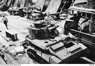 Battle of Java (1942) - A light tank of the 3rd Hussars disembarks at Sumatra on 14 February 1942.