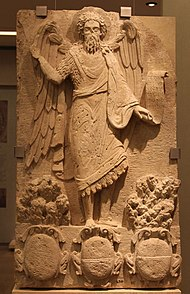 Limestone panel with the figure of St Jogn (the Baptist) in relief. Early 17th c. (8384480270).jpg