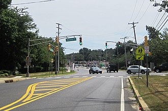 Lincroft, New Jersey - Intersection of Newman Springs Road (CR 520) and Phalanx Road in Lincroft