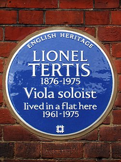 Lionel tertis 1876 1975 viola soloist lived in a flat here 1961 1975