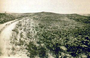 Photo taken in 1894 by H.R. Locke on Battle Ridge looking toward Last Stand Hill top center. Wooden Leg Hill can be seen at the far top right.