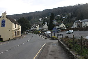 Llandogo - Llandogo with the Sloop Inn on the left.